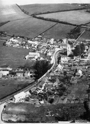 Aerial View of Central Lavendon Looking Eastwards with Northampton Road in centre