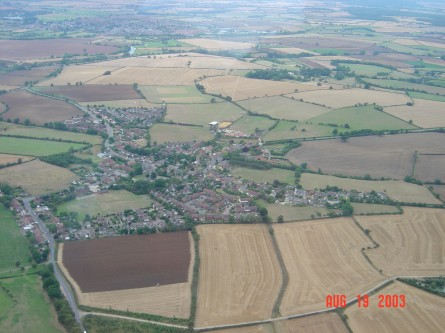 A general view of Lavendon village looking south-westwards towards Olney from Harrold Road (in bottom left hand corner).