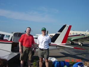 Robert Chambers (right) with friend, Ray, about to take off for the UK.
