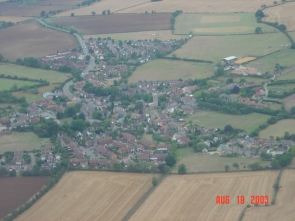 A general view of Lavendon with Olney Road top left and the New Glebe bottom centre.