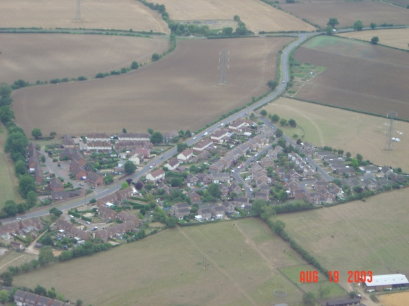 Olney Road, with the Langlands estate centre right and Jack's Close centre left. The so-called 'Way-post' is top right.