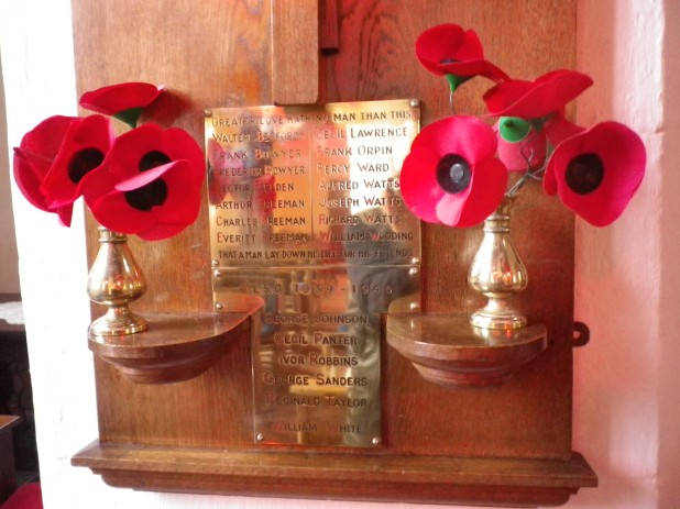 Memorial in Lavendon Church to those who died in WW1, WW2 & 1953