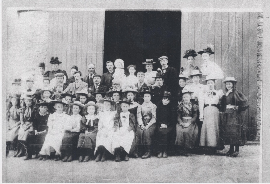 Local Residents Attending the Opening of the Lavendon Chapel – Photo Courtesy of John Panter, whose Grandparents, Thomas and Jane Panter, appear in the back row, 3rd and 4th from the right.