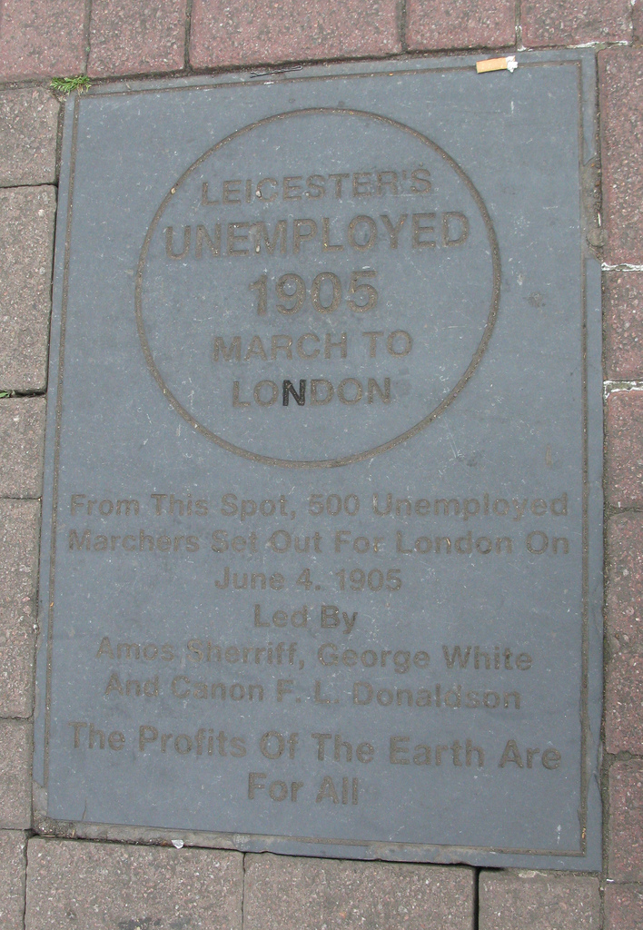 Memorial to Leicester's Unemployed 1905 March to London. With thanks to Fiery Fred Flickr (Creative Commons Licence).