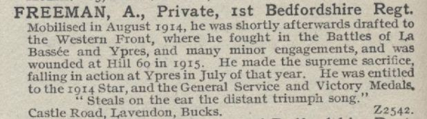 Private Arthur Freeman of Castle Road, Lavendon, died 21 July 1915
