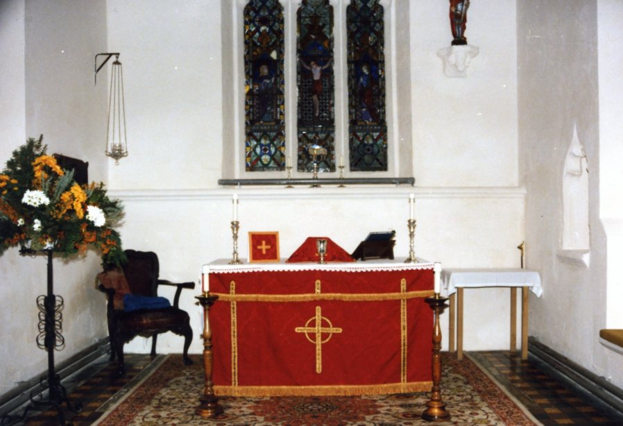The Elizabethan Chalice of 1569 on display at St Michael's Church Lavendon in 1990.