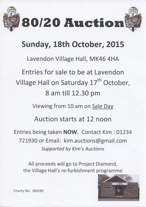 80/20 Auction Sale in Lavendon Village Hall on Sunday 18th October 2015