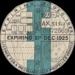 Road Fund License or tax disc of 1925 [Wikipedia].
