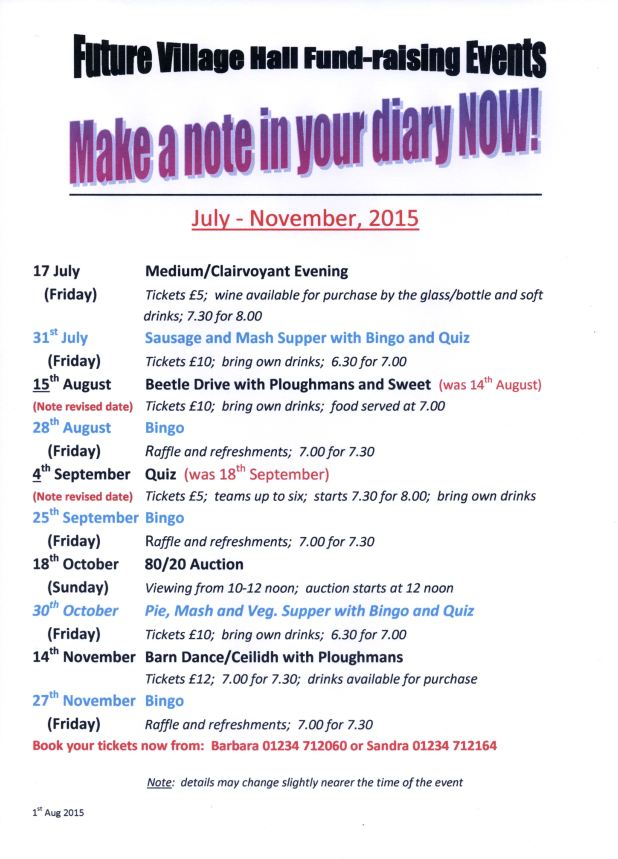 Village Hall Fundraising Events July-Nov 2015, update.