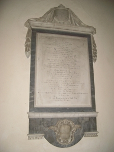 Jane Adam's monument to her father, Dr Richard Newton, to be found in St Michael's Church, Lavendon.