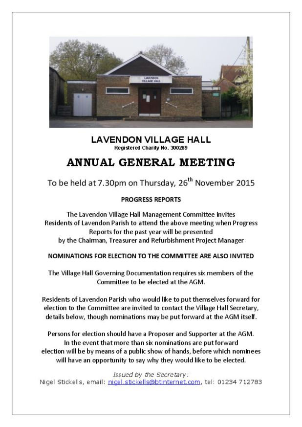 Village Hall AGM 26 Nov 2015