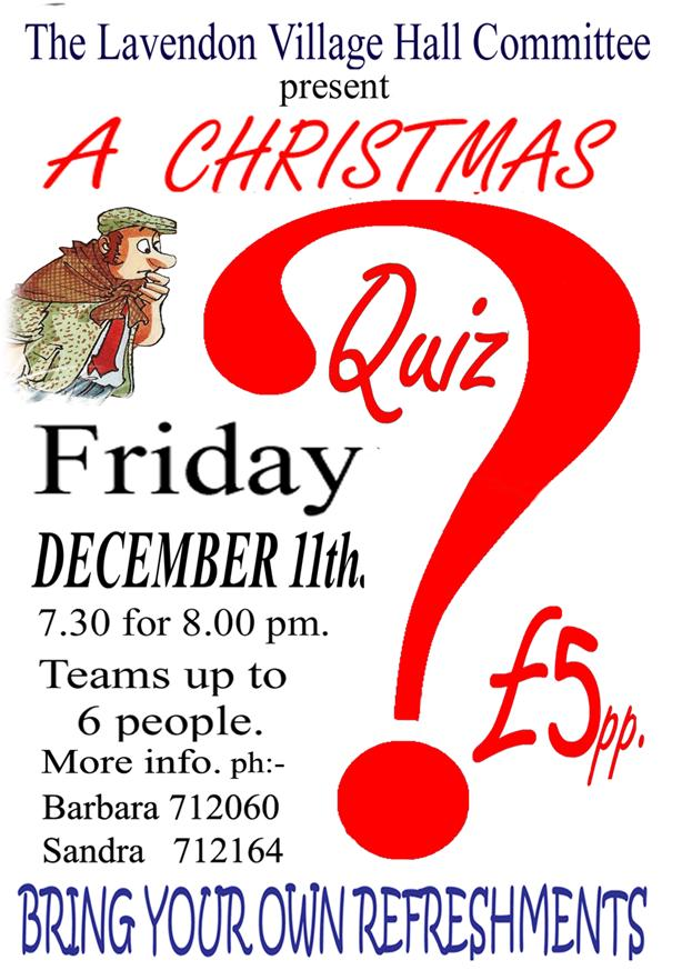 Quiz on 11 Dec 2015 in Village Hall