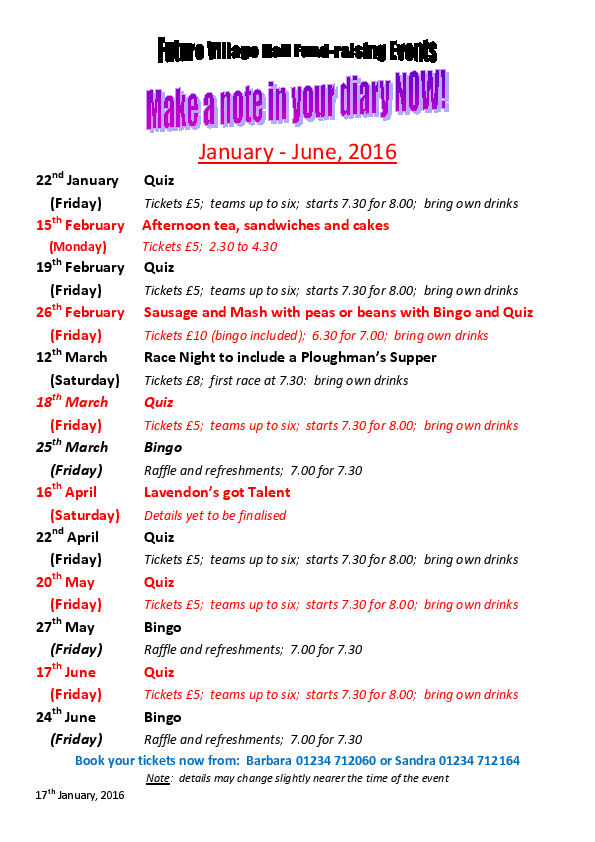 Lavendon Village Hall Events Jan - June 2016