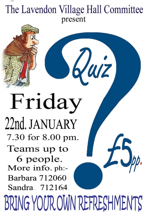 Quiz in Village Hall, 22 Jan 2016