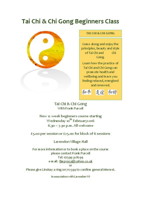 New 12 week Tai Chi & Chi Gong Beginners Class