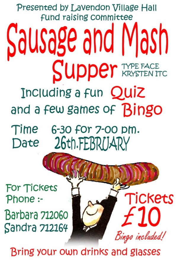 Sausage and Mash Supper in Village Hall