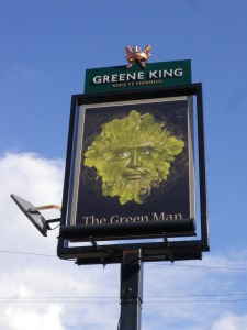 The modern day signboard for the Green Man, Lavendon, Oct 2015