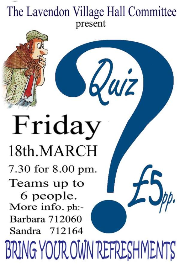 Quiz at Lavendon Village Hall, 18th March 2016