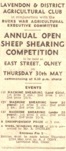 Sheep Shearing Competition - Lavendon & District Agricultural Club