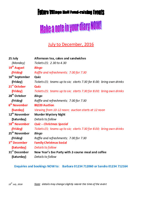 Fundraising events at Lavendon Village Hall, July to Dec 2016