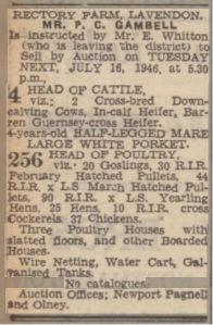 Sale of Cattle & Poultry, Rectory Farm, Lavendon, 16 July 1946