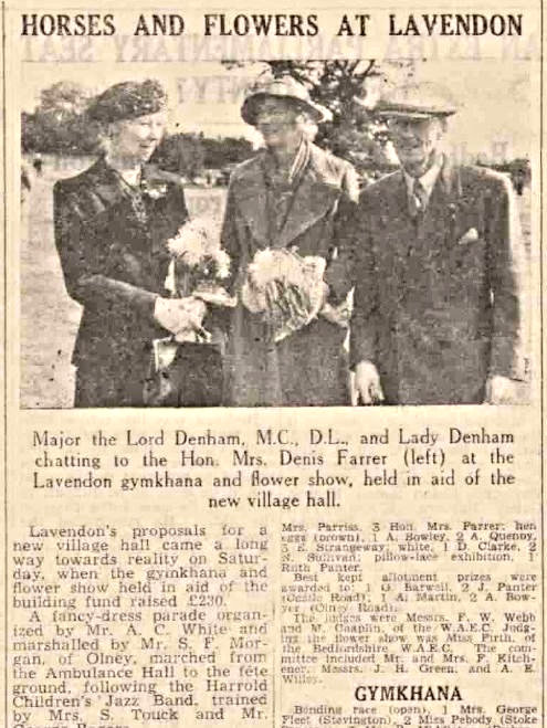 Lavendon Gymkhana and Flower Show report from 1946