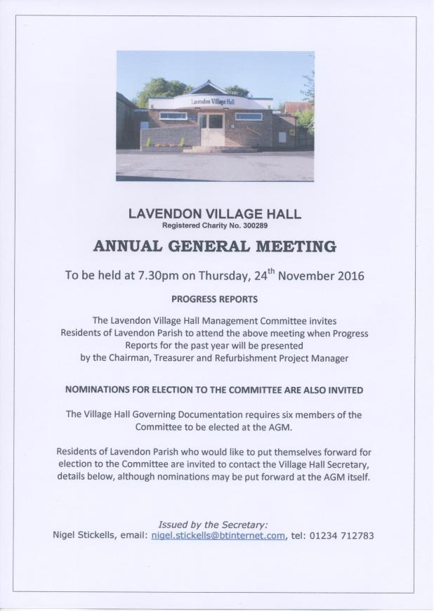Lavendon Village Hall 2016 AGM