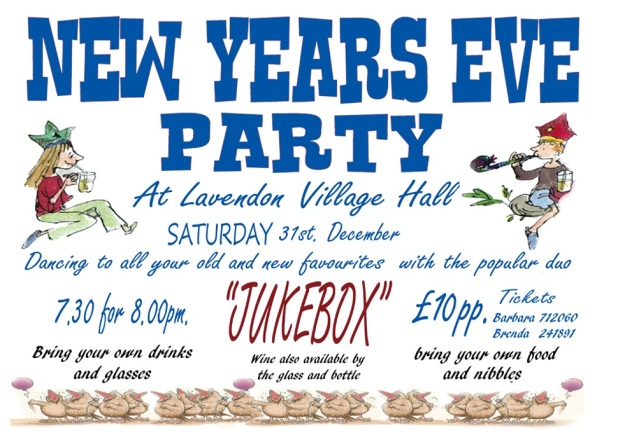 31st Dec 2016 New Years Eve Party at Lavendon Village Hall