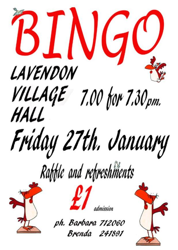 27th January 2017 Bingo in Lavendon Village Hall