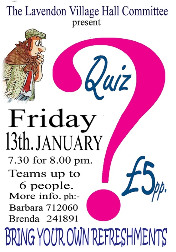Lavendon Village Hall Quiz - 13th January 2017