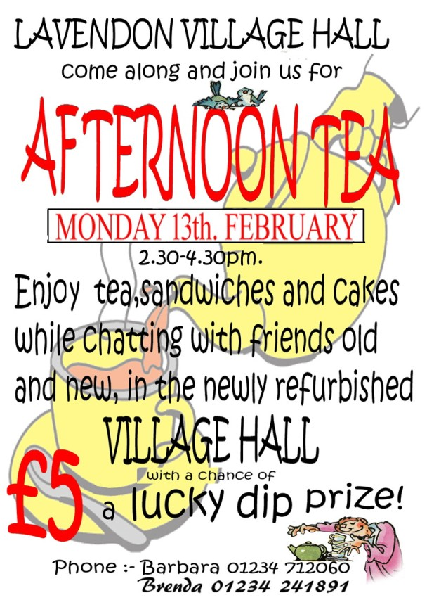 13th Feb 2017 - Afternoon Tea at Lavendon Village Hall