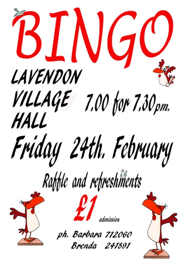 24th Feb 2017 - Bingo in Lavendon Village Hall