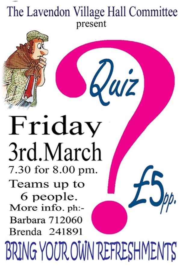 3rd March 2017 - Quiz in Lavendon Village Hall